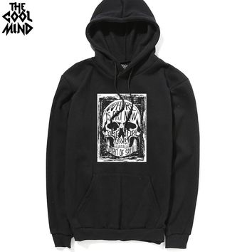 Thick fabric winter Cotton blend skull printed men sweatshirt casual warm men's hoodies and sweatshirts