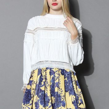 Retro Vibe Ruffled Top in White