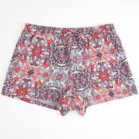 Full Tilt Medallion Tie Girls Shorts Coral Combo  In Sizes