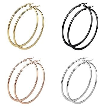BodyJ4You 8PC Big Hoop Earrings Set Girls Women Steel Rose Goldtone Black Fashion Jewelry