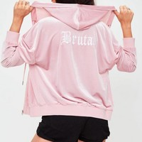 Missguided - Pink Velour Hoodie Jersey Top