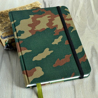 Handmade men's fabric journal Fabric notebook Lined pages White sheets notebook Military personal journal Round corner notebook Gift for him