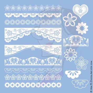 Papel Picado Borders Clip Art Set White Birds Flowers Hearts Elements DIY Wedding Invites Mexican Fiesta Fun Decoration Cultural Craft 10581