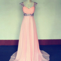 Stunning A-line Straps Sweep Train Prom Dress