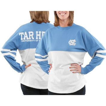 North Carolina Tar Heels Women's Varsity Sweeper Long Sleeve Jersey Top – Blue