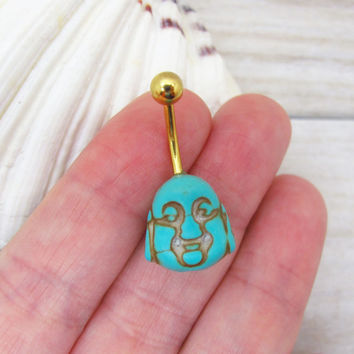 Turquoise  buddha belly button ring,  buddha belly button jewelry,  buddha navel jewelry, belly button ring jewelry,unique gift