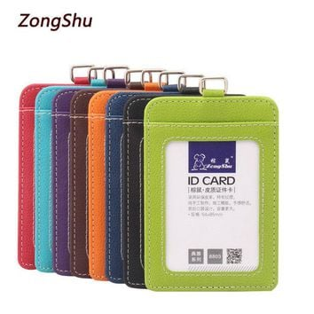 LMFET7 2017 New fashion ID Holders Bank Credit Card Holder Unisex PU Leather card case business Working Id Badge covers without lanyard