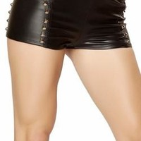 Sexy High Rise Faux Leather Side Studded Shorts