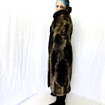 Vintage 60s faux fur coat / size S / M / full length faux chocolate mink coat / Russell Taylor long fake fur coat / brown vegan faux fur