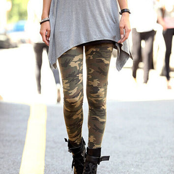 Womens Graffiti Style Slim Camouflage Stretch Trousers Army Tights Pants free shipping&DropShipping