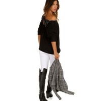 Sale-black Polka Dot Bow Dolman Top