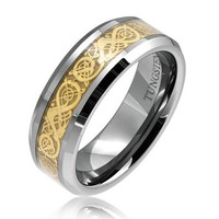 Bling Jewelry Tungsten Celtic Dragon Gold Inlay Flat Comfort Fit Wedding Band Ring 8mm