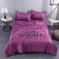 Comfortable Soft HERMES Bedding Blanket Quilt Coverlet Pillow Shams 4 PC Bedding Sets Home Decor