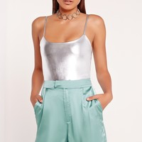 Missguided - Peace + Love Strappy Bodysuit Silver