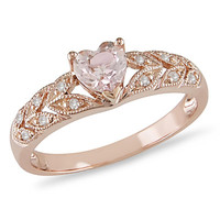 Heart-Shaped Morganite Ring in 10K Rose Gold with Diamond Accents