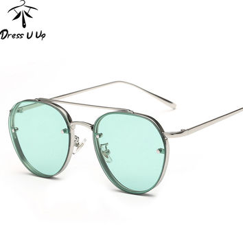 DRESSUUP New Vintage Sunglasses Women Brand Designer Marine lens Alloy Frame Pilot Sun Glasses For Men Oculos De Sol Feminino
