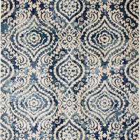 2086 Blue Ivory Trellis Contemporary Area Rugs