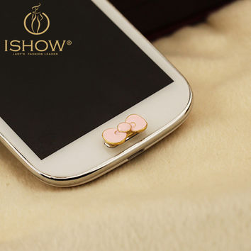 Cute Little Small Accessory for Cellphone Decoration Home Button for Samsung Alloy Bowknot Shaped Mobile Phone Stickers