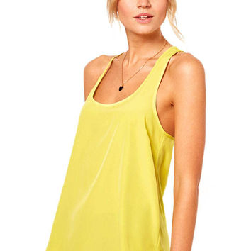 Yellow Tank Top with Split Back