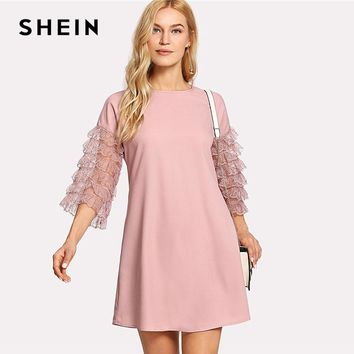 SHEIN Ruffle Lace Sleeve Tunic Shift Dress Pink Round Neck 3/4 Sleeve Plain Dress 2018 Women Layered Sleeve Casual Short Dress