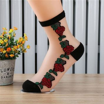 1Pair Rose Flower Pattern Women Lace Ankle Sock Soft Sheer Silk Cotton Elastic Mesh Knit Transparent Ankle Socks