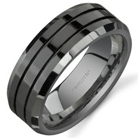 Beveled Edge Double Groove 8 mm Comfort Fit Mens Black Tungsten Wedding Band Ring Sizes 8 to 13