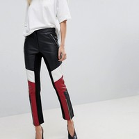French Connection Leather Biker Trousers at asos.com