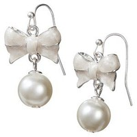 Bow Pearl Gold Drop Earring