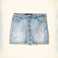 Girls Button-Front Low-Rise Denim Mini Skirt | Girls Bottoms | HollisterCo.com