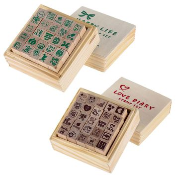 1 Box 25pcs Love Heart Diary Multi Patterns Wooden DIY Stamp Rubber For Card-Making Scrapbooking Craft Supply Special Gifts