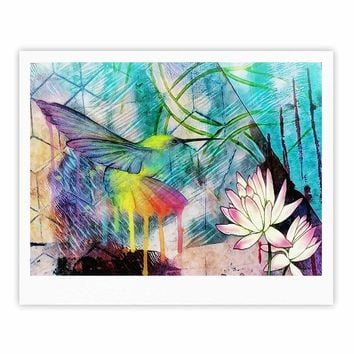 "AlyZen Moonshadow ""Hummingbird With Lotus"" Multicolor Pink Digital Fine Art Gallery Print"