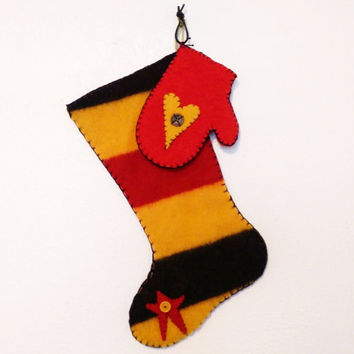 Point Blanket Stocking and Mitten - Christmas decor, hand made, OOAK, recycled blanket, vintage, black, yellow, red