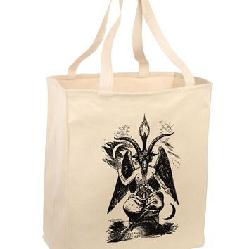 Baphomet Illustration Large Grocery Tote Bag by TooLoud
