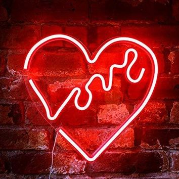 "Isaac Jacobs 14"" inch LED Neon Red ""Love"" Heart Wall Sign"