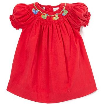 Strawberry Smocked Lace-Accent Dress - Infant