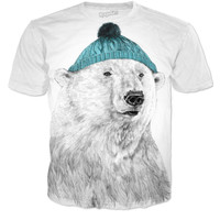Polar bear with blue beanie shirt