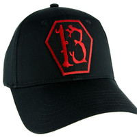 Red Coffin Number Thirteen 13 Hat Baseball Cap Alternative Psychobilly Clothing