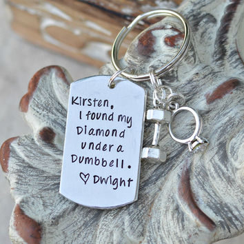 "Handstamped Custom Fitness Key Chain, Dumbbell KeyChain, New Bride-New Groom-Fitness key chain-""I found my Diamond under a Dumbbell."""