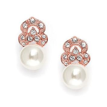 Handmade Couture Rose Gold or Platinum Pearl Bridal Earrings