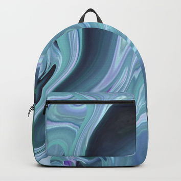 Blue Ocean Wave Abstract Backpacks by Sheila Wenzel