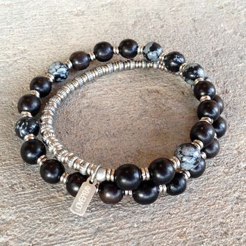 Strength, Ebony and Obsydian 27 Bead Unisex Wrap Mala Bracelet