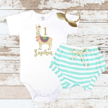 First Birthday llama Mint Shorts Outfit