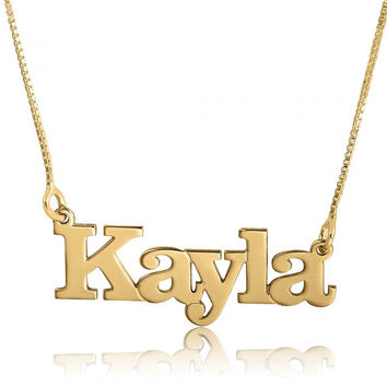 Name Chain Real Gold Name Pendant Name Chain Solid Gold Pendant Personalised Name Necklace name pendant Gold Chain Name Gold Name Tag on it