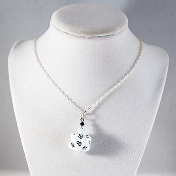 Classic RPG White D20 Dice Necklace - Tabletop Gaming Jewelry with Crystal Accents