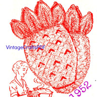 1952 Pineapple Oven Mitts Crochet Pattern-Decorative and Useful Crochet Pattern-1950s Housewife-Mad Men-VintageCrafts PDF-USA