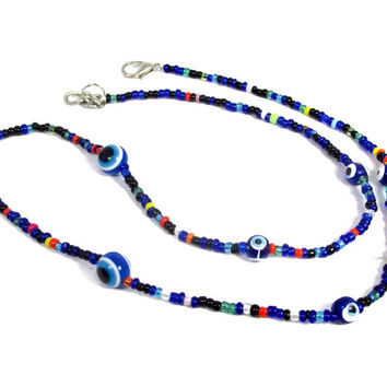Evil Eye Blue unisex Necklace kabbalah protection 19''round Calm & relaxation