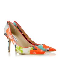 Neon Flame, Peppermint and Lime Orchid Print Canvas Pointy Toe Pumps | Agnes | Spring Summer 2014 | JIMMY CHOO Pumps