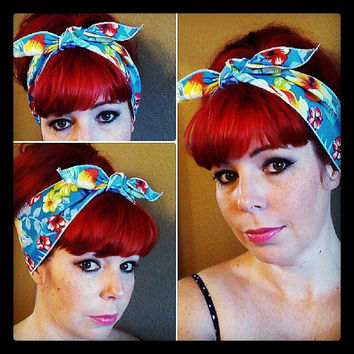 Hawaiian Print one sided WIDE Headwrap Bandana Hair Bow Tie 1950s Vintage Style - Rockabilly - Pin Up - For Women, Teens