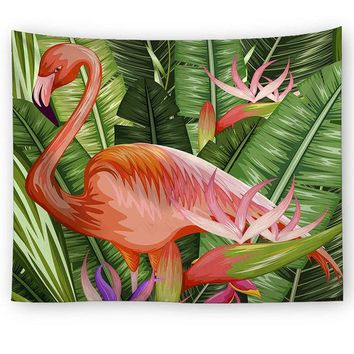 Orange Flamingo Leaves Tapestry