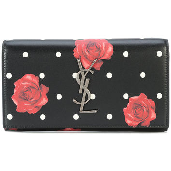 Saint Laurent Rose Print Foldover Wallet - Farfetch